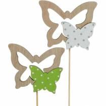 Planteplugg sommerfugl på pinne trepynt vårstykke 16stk