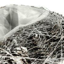 Plantehjerte laget av kjegler 17cm x21cm hvitkalket 2stk