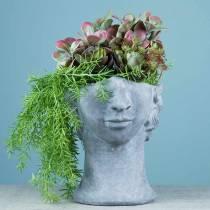 Plantehode byste laget av betong for å plante grå H23.5cm