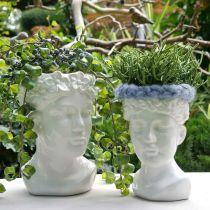 Plantehode byste kvinne hvit keramisk vase blomsterpotte H22.5cm