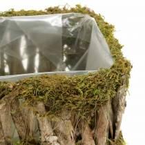Plantekurv firkantet mos, bark 34 × 15,5 / 24,5 × 11 cm, sett med 2