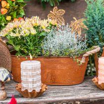 Plantekrukke med håndtak, urteskål, høstdekorasjon, patina L28cm H11cm