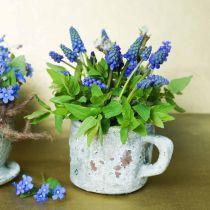 Plantegryte planterkopp vintage grå, naturlig leire Ø8,5cm H8cm 4stk