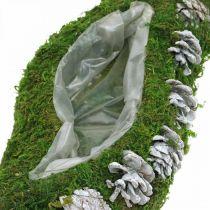 Plantemose og kjegler bølger grønt, vasket hvitt 41 × 15cm