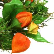 Physalis krans kunstig oransje, grønn Ø28cm høstdekorasjon