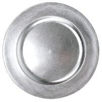 Plastplate 25cm sølv med sølvbladeffekt