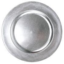 Plastplate sølv Ø17cm 10stk