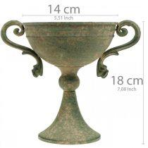 Kopp med håndtak, metallbeker, amfora for planting Ø14cm H18cm