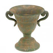 Metallamfora, plantebeger, beger med håndtak Ø12,5cm H15cm