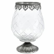 Dekorativ glassbeger med metallbunn Ø16cm H23,5cm