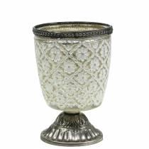 Telysglassbeger bonde sølvblomstret Ø9cm H13,5cm
