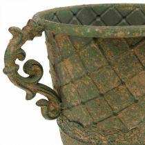 Kopp for planting, kalk med håndtak, metallkar antikk utseende Ø15,5cm H23,5cm