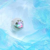 Dekorativ manet for å henge blå glitrende med LED-lys Ø26 H65cm