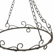 Dekorativ ring med krok for oppheng av rustbrun Ø20,5cm