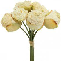 Kunstige roser, silkeblomster, rosenknippe krem hvit L23cm 8stk