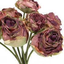 Roser antikkrosa, silkeblomster, kunstige blomster L23cm 8stk