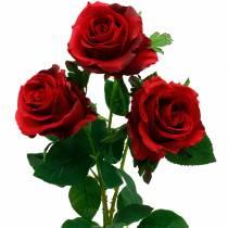 Røde rose kunstige roser silkeblomster 3stk
