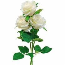 Hvit rose på stilk, silkeblomst, kunstig rose 3stk