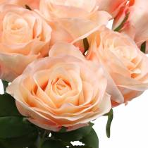 Kunstig rosebukett aprikos 8stk