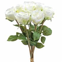 Dekorative rosesilkeblomster i en haugkrem 36cm 8stk
