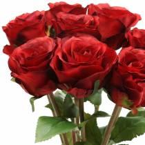 Rose i en haug kunstig rød 36cm 8stk