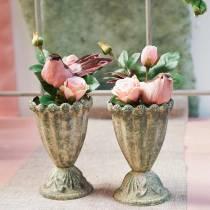 Rose i glassrosa H23cm