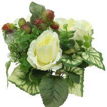 Roser / hortensia bukett hvit med bær 31cm