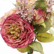 Roser silkeblomster i en haug med høstbukettrosa, fiolett H36cm