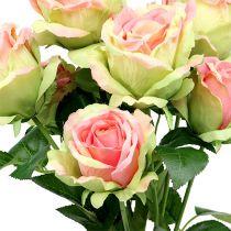 Rosebusk kunstig grønn, rosa 55cm