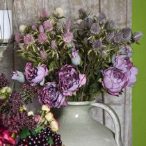 Rosegren, silkeblomst, borddekorasjon, kunstig roselilla antikk utseende L53cm