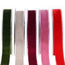 Fløyelsbånd forskjellige farger 20mm 10m