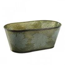 Plantebolle til høsten, metallpynt med bladdekorasjon grønn L38cm H15cm