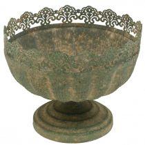 Rustikk planter, bolle med fot, metallpynt, antikt utseende, Ø18,5cm H15cm