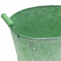 Dekorativ bolleplanter metallgrønn oval 25,5x18,5cm H13cm