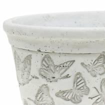 Planteskålskål hvit med sommerfugler 17cm x 12cm H8cm 2stk