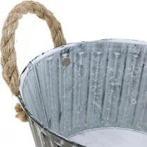 Planteskål, metallskål med håndtak, dekorativ skål for planting Ø18cm
