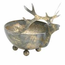 Bolle med reinshode gylden antikk look metall Ø14cm