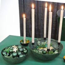 Dekorativ bolle metallgrønn borddekorasjon Vintage Ø21cm