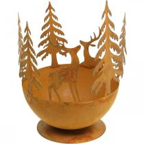 Metallskål med rådyr, skogdekorasjon til advent, dekorativt kar rustfritt stål Ø25cm H29cm