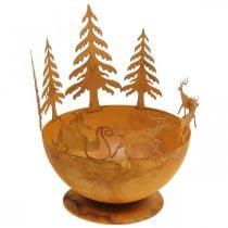 Dekorativ bolle med juleslede, adventsdekorasjon, metallkar, rist i rustfritt stål Ø25cm H32,5cm