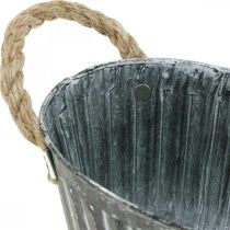 Plantebolle av metall, blomsterskål for planting, dekorativ bolle med håndtak L22.5cm