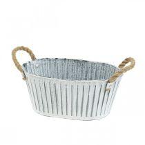 Planter med håndtak, blomsterskål av metall, dekorativ bolle for planting L28cm