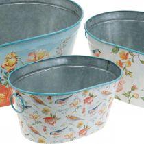 Planteboller, vår, planter blomster / fugler, metallbeholder oval L39 / 31 / 24,5 cm, sett med 3