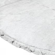 Dekorativ treskive med barkhvit dalbane laget av kryssfiner Ø20cm