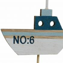 Dekorativ plugg skip tre hvit blå natur 8cm H37cm 24stk