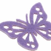 Filt sommerfuglborddekorasjon lilla hvit assortert 3,5x4,5cm 54 stykker
