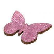 Dryss dekorasjon sommerfuglrosa glitter 5/4 / 3cm 24stk