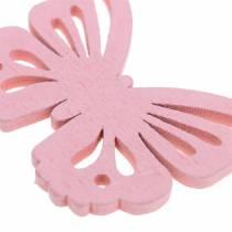 Spredt dekor sommerfugl hvit, gul, rosa assortert tre 5cm 40p
