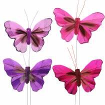 Fjærsommerfugl med wire 7cm rosa lilla 24stk