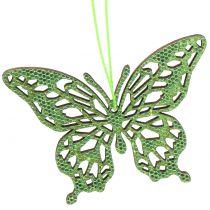 Dekorasjonshenger sommerfugl grønn glitter8cm 12stk